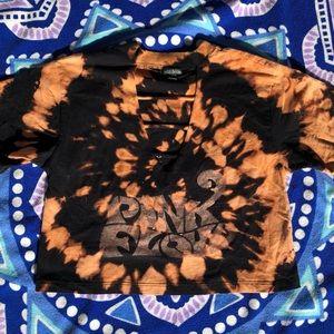 Bleach Dyed Crop Top w Pink Floyd Stencil